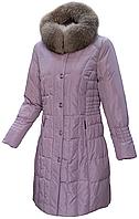 Пуховик пальто женский зимний на натуральном пуху с мехом лисы с капюшоном City Classic