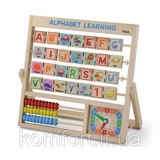 Дерев'яна гра Viga Toys Англійський алфавіт з годинником і рахунками, фото 2
