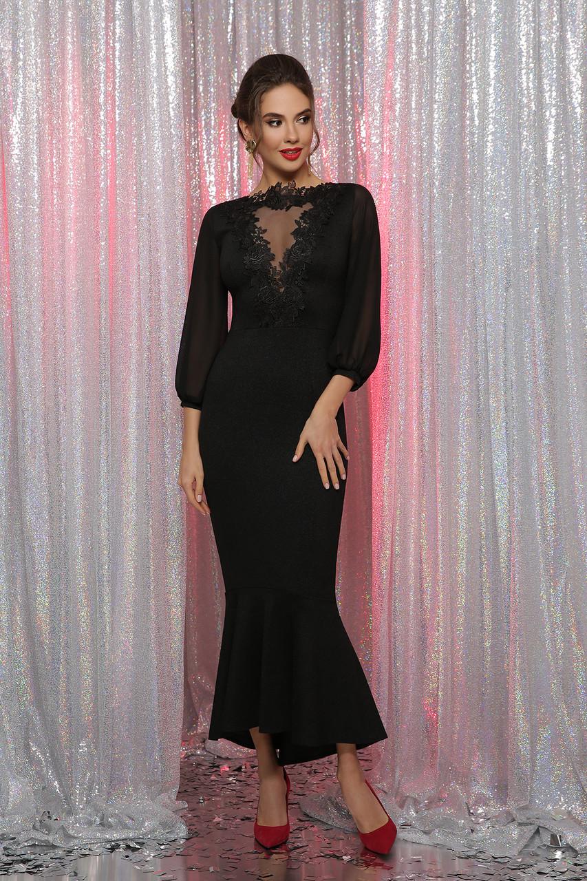 Довге чорне вечірнє плаття з мереживом