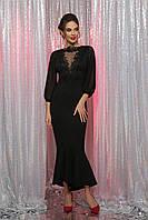 Длинное черное вечернее платье с кружевом, фото 1