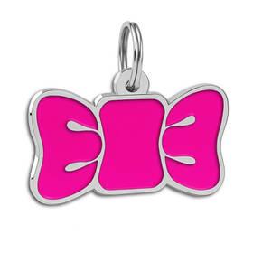 Адресник емальований Метелик (бантик) рожевий (гравірування під замовлення 3-7 днів)