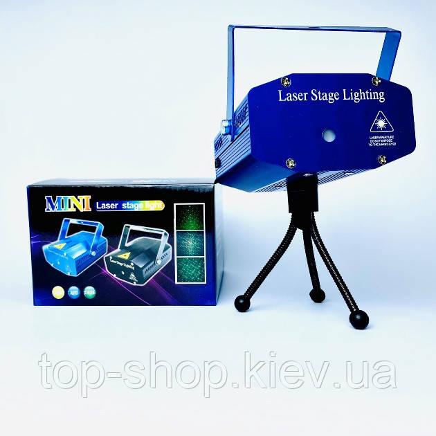 Лазерный проектор новогодний стробоскоп лазер шоу Mini Laser 4in1 для помищения