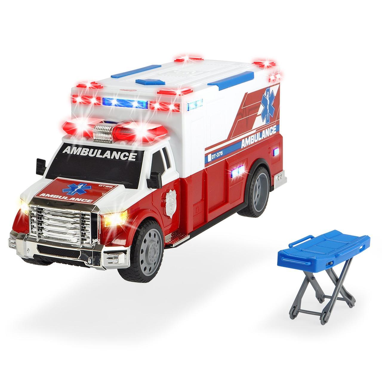 Автомобиль скорой помощи с носилками, звук. и свет. эффектами, 33 см, Dickie toys 1137010