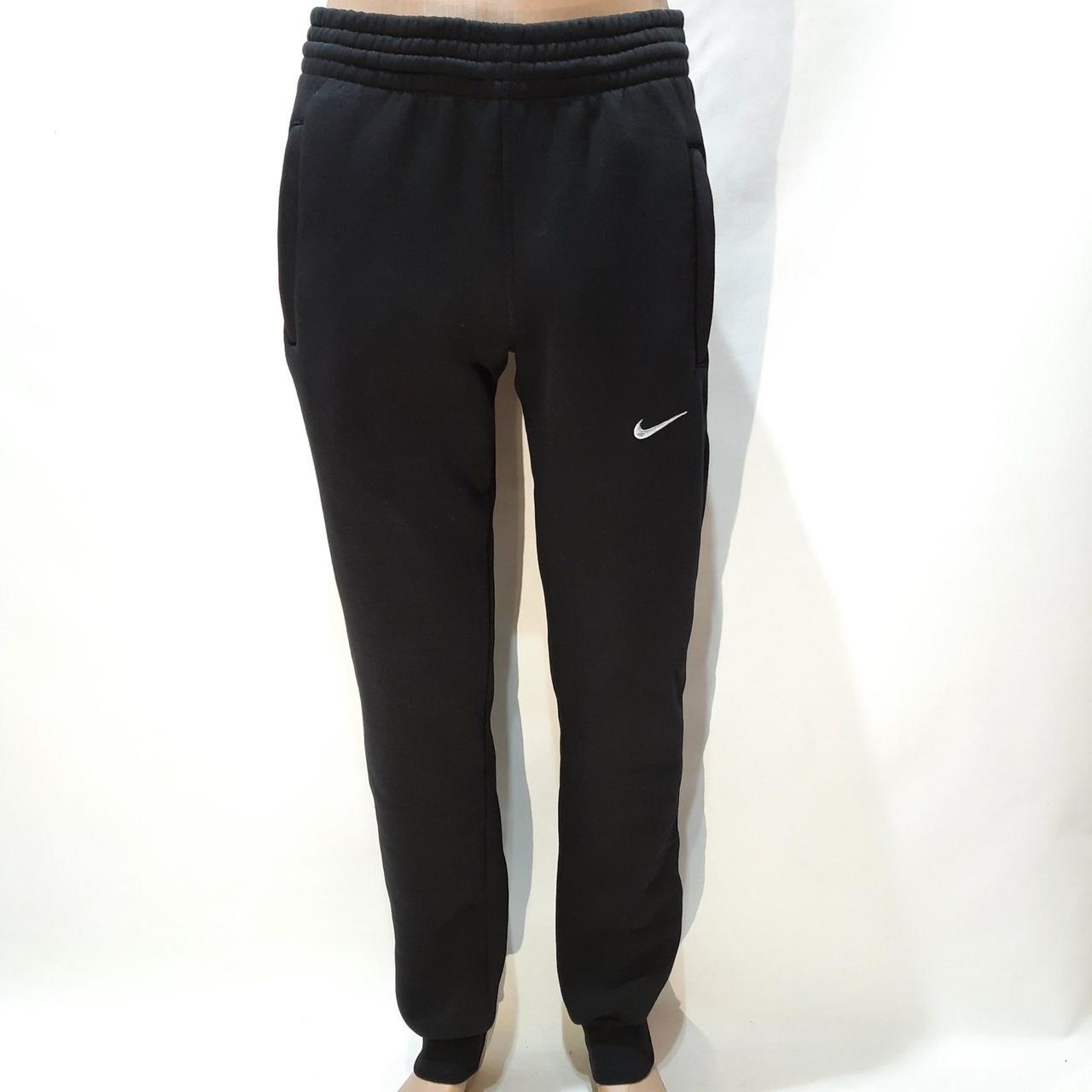 Мужские теплые спортивные штаны под манжет трехнитка Турция Черные