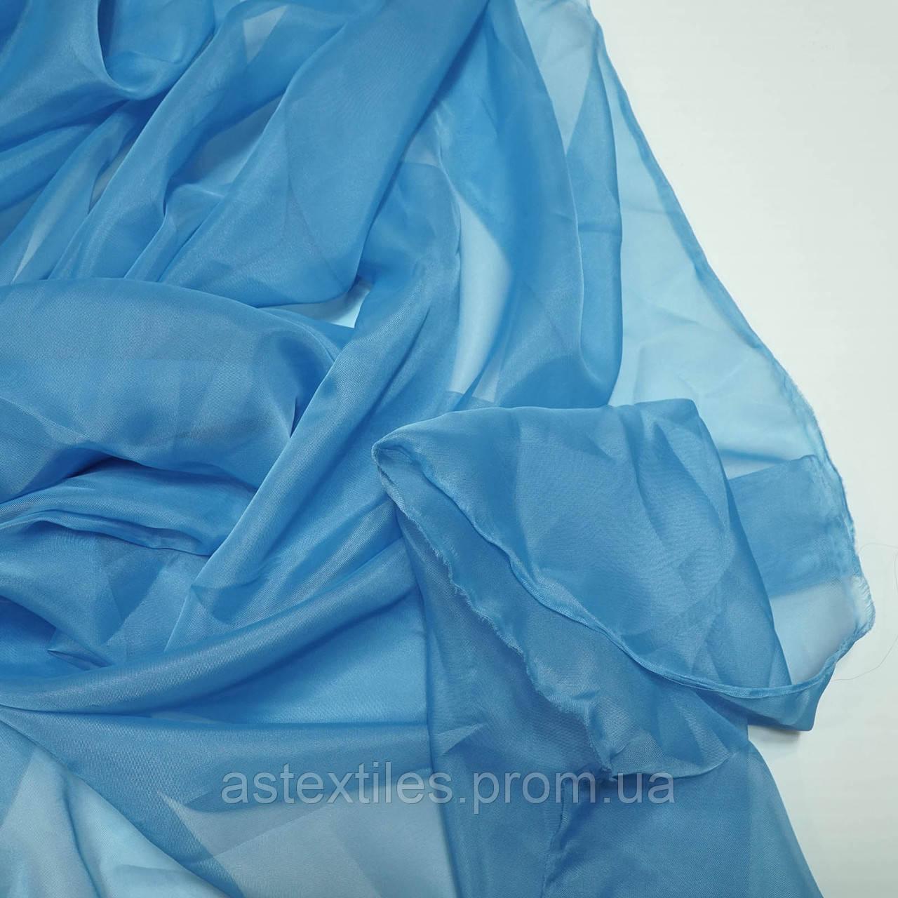 Шторний шифон, тюль (блакитний)