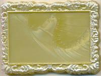 Свадебный магнитик (прямоугольный, серебро)