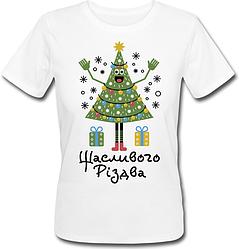 "Женская футболка ""Щасливого Різдва"" (белая)"