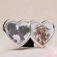 Свадебная фоторамка на 2 фотографии в форме сердец