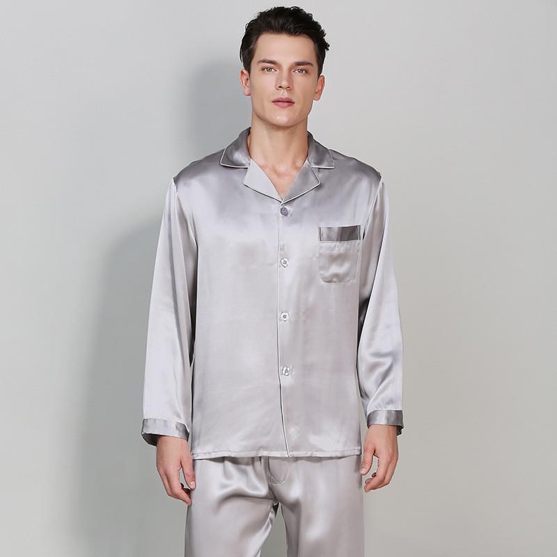 Пижама мужская шелковая серая (размер S- XXXL 44-54)