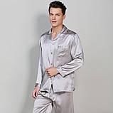 Пижама мужская шелковая серая (размер S- XXXL 44-54), фото 3