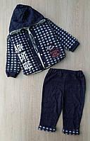 Костюм на мальчика Carnaval,9-12-18 мес,  тройка, велсофт+трехнить,клетка, синий