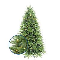 Искусственная елка литая пушистая разборная с подставкой цвет LED теплый белый мультиколор
