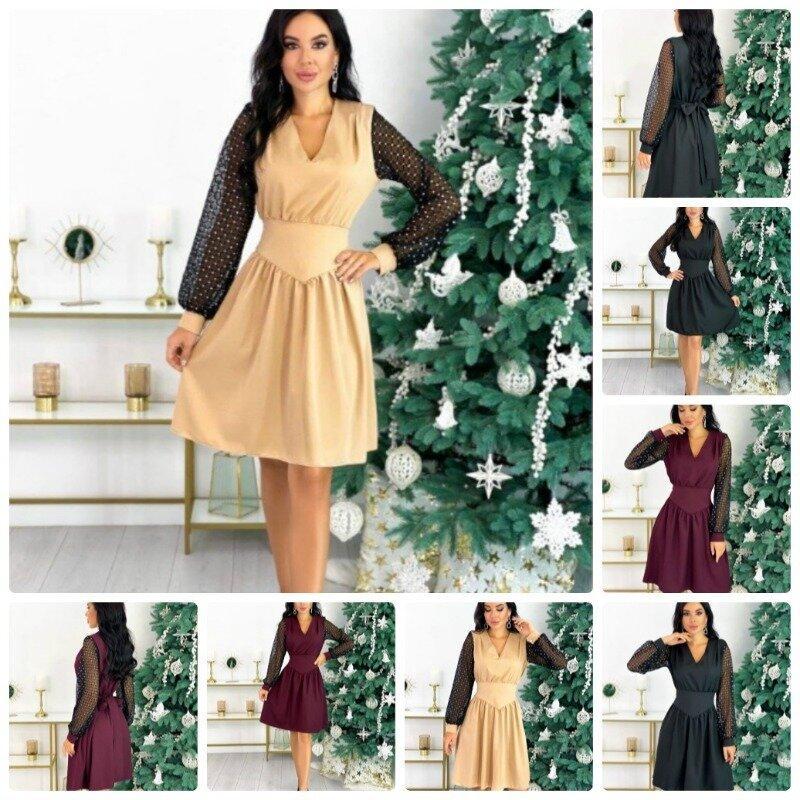 Нарядное женское платье мини на рукавах ажурная сетка низ юбка солнце клеш 3 цвета С М Л Хл