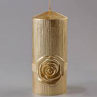 Большая золотистая свадебная свеча