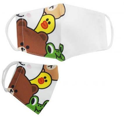 """Многоразовая 4-х слойная защитная маска """"Мишка и компания"""" размер 3, 7-14 лет mask2NEW"""