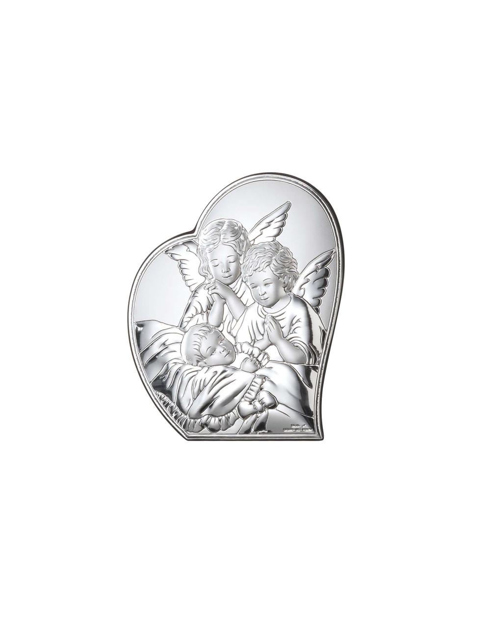 """Икона серебряная """"Ангелы у ребенка"""" (9х11см) 81084 1L"""