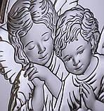 "Икона серебряная ""Ангелы у ребенка"" (9х11см) 81084 1L, фото 2"