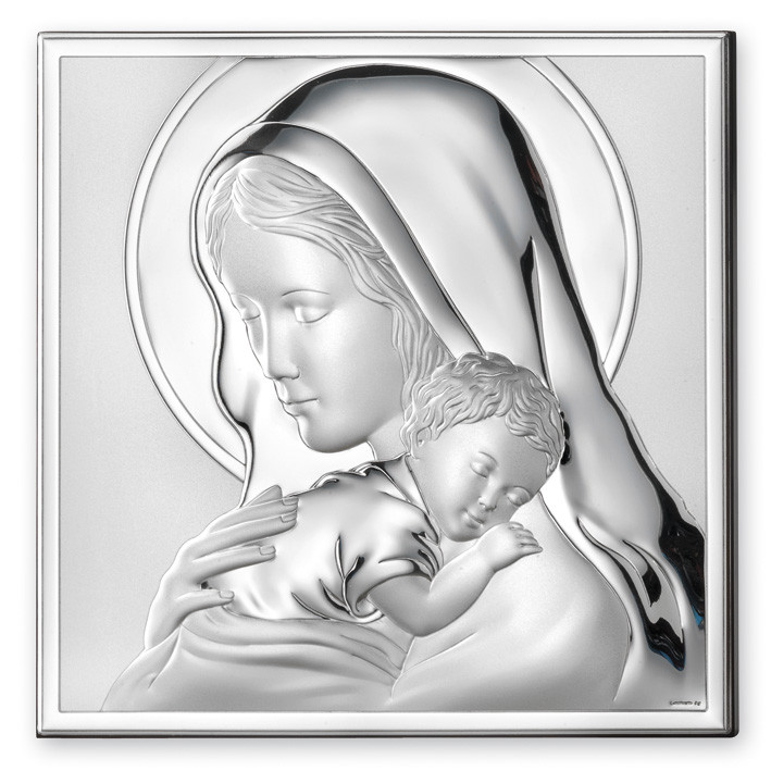 "Икона серебряная  ""Мадонна с Младенцем"" (6х6см) 81243.2L"