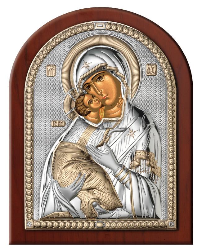 """Икона серебряная  """"Матерь Божия Владимирская"""" (7.5х11см) 84080.2L.ORO"""