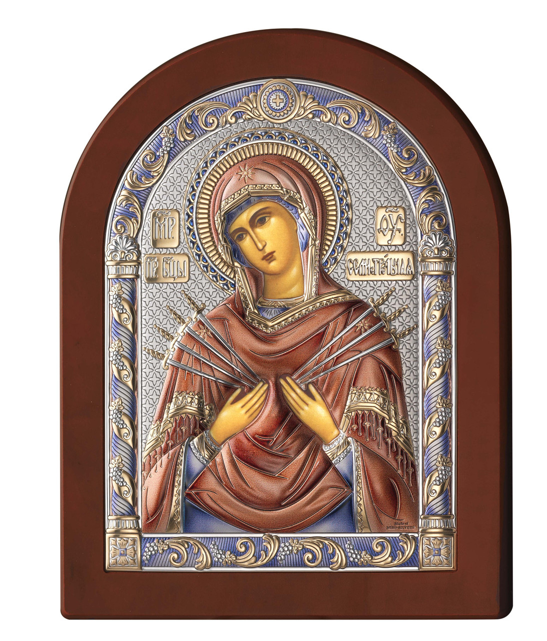 Икона серебряная Богородицы Семистрельная (15х20см) 84122 4LCOL