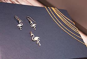 Подвеска серебряная с позолотой Фламинго (1.3г)