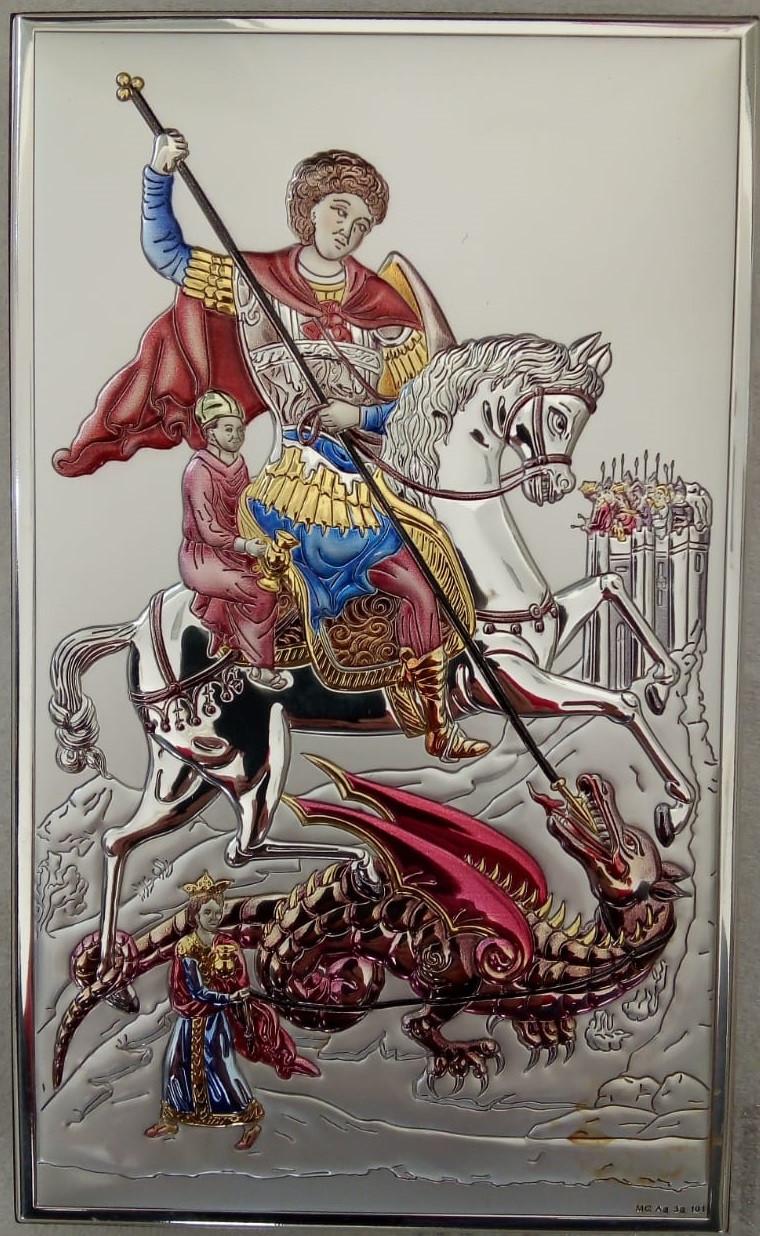 """Икона серебряная  """"Святой Георгий"""" (18х20см) 18033.4XLCOL"""