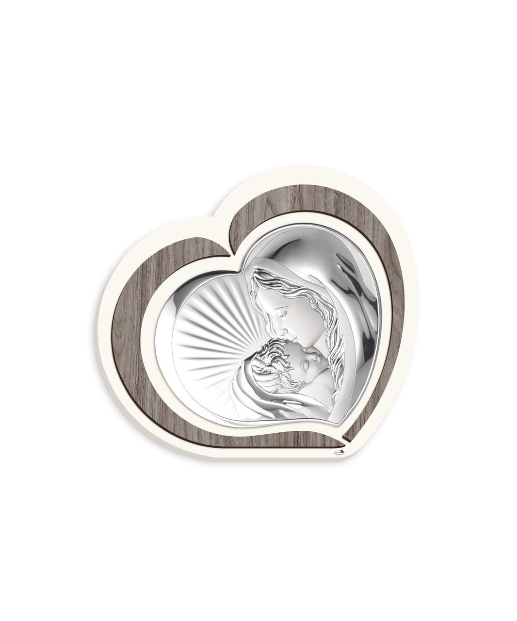 "Икона серебряная  ""Матерь Божия с Младенцем"" (10.5х9см) L221 1"