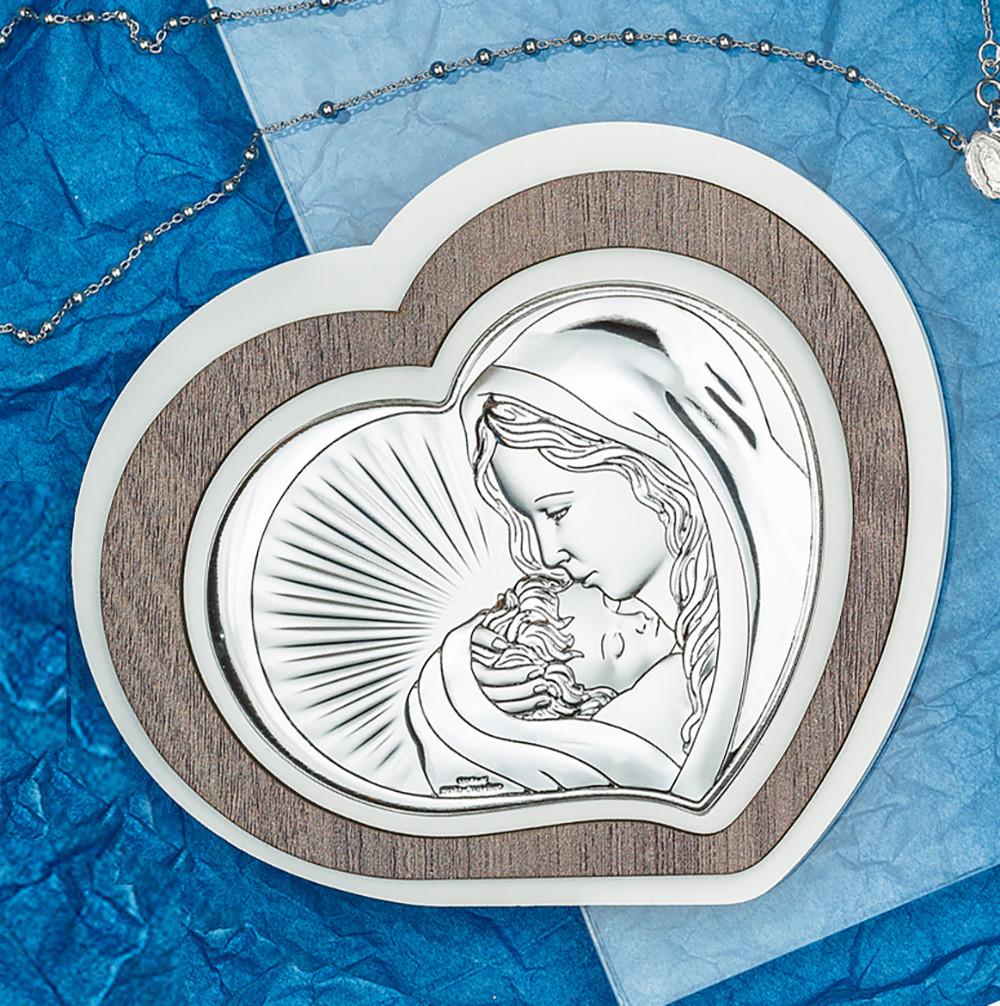 "Икона серебряная  ""Матерь Божия с Младенцем"" (15х13 см) L 221.2"