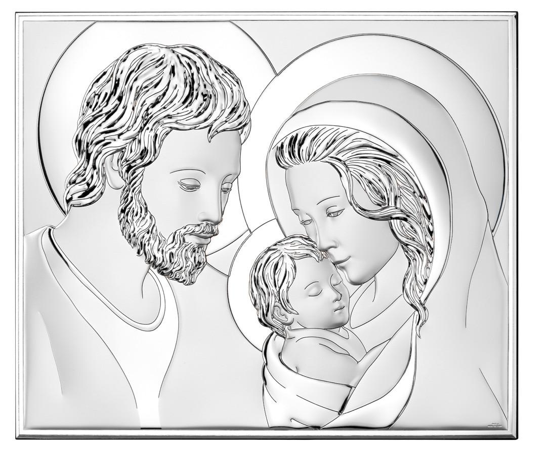 Икона серебряная Святое Семейство (14.5х12.5см) 81340 2L