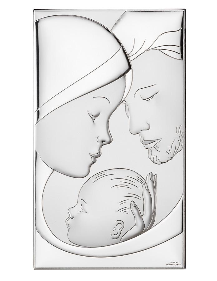 Икона серебряная Святое Семейство (9х15см) 81255 / 3XL