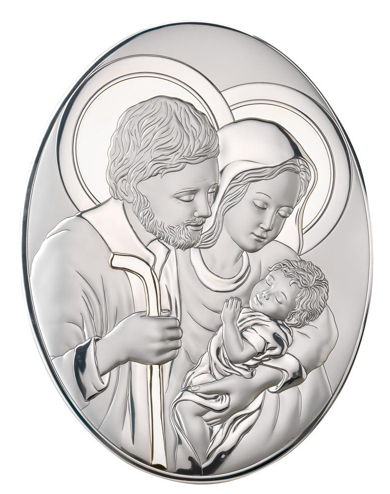 """Икона серебряная  """"Святая Семья"""" (14х18см) 82007 4L"""