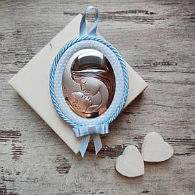 "Детская серебряная икона-медальон  ""Мадонна с Младенцем"" 10539 2C"