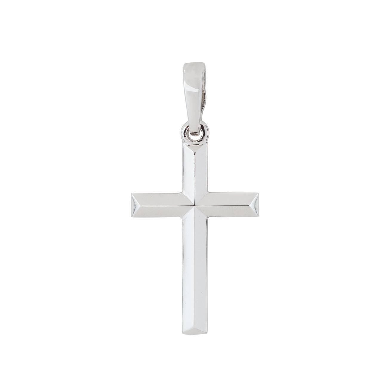Крест нательный классический из белого золота, без распятия