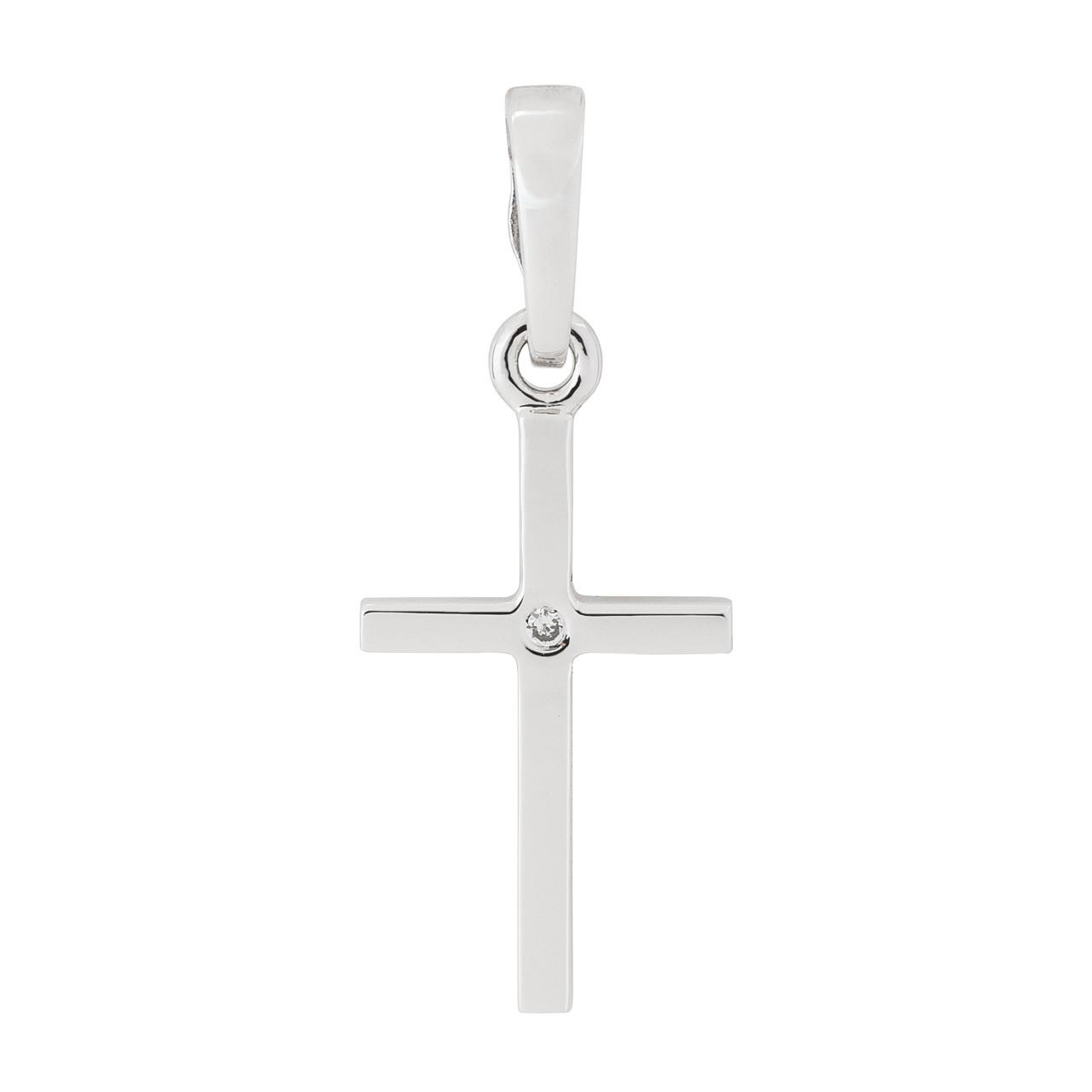 Минималистичный крестик из белого золота с вставкой циркония