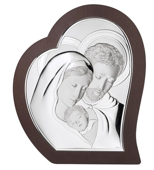"""Икона серебряная в форме сердца """"Святая Семья"""" (14.5х17.5см)"""