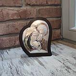 """Икона серебряная в форме сердца """"Святая Семья"""" (14.5х17.5см), фото 2"""