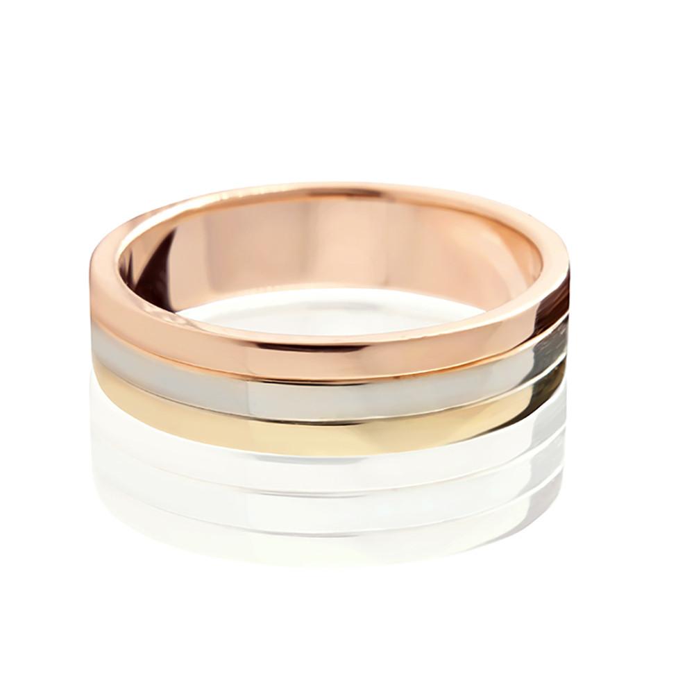 """Обручальное кольцо """"Trynity"""" в трех цветах золота 5,5 мм"""