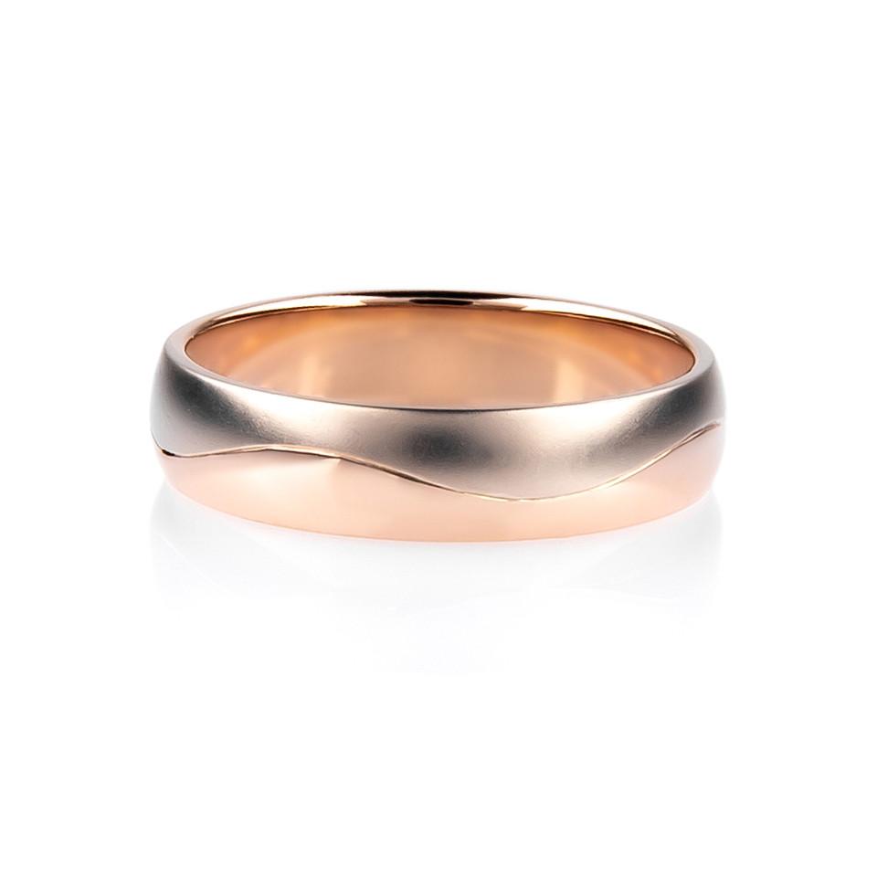 """Кольцо из комбинированного золота """"Волны любви"""" (размер 20)"""