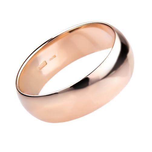 """Кольцо классическое радиальное из красного золота """"Classic"""" (6 мм) (размер 21)"""