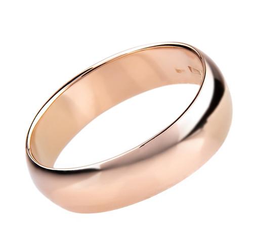 """Кольцо классическое радиальное из красного золота """"Classic"""" (4 мм) (16,5)"""