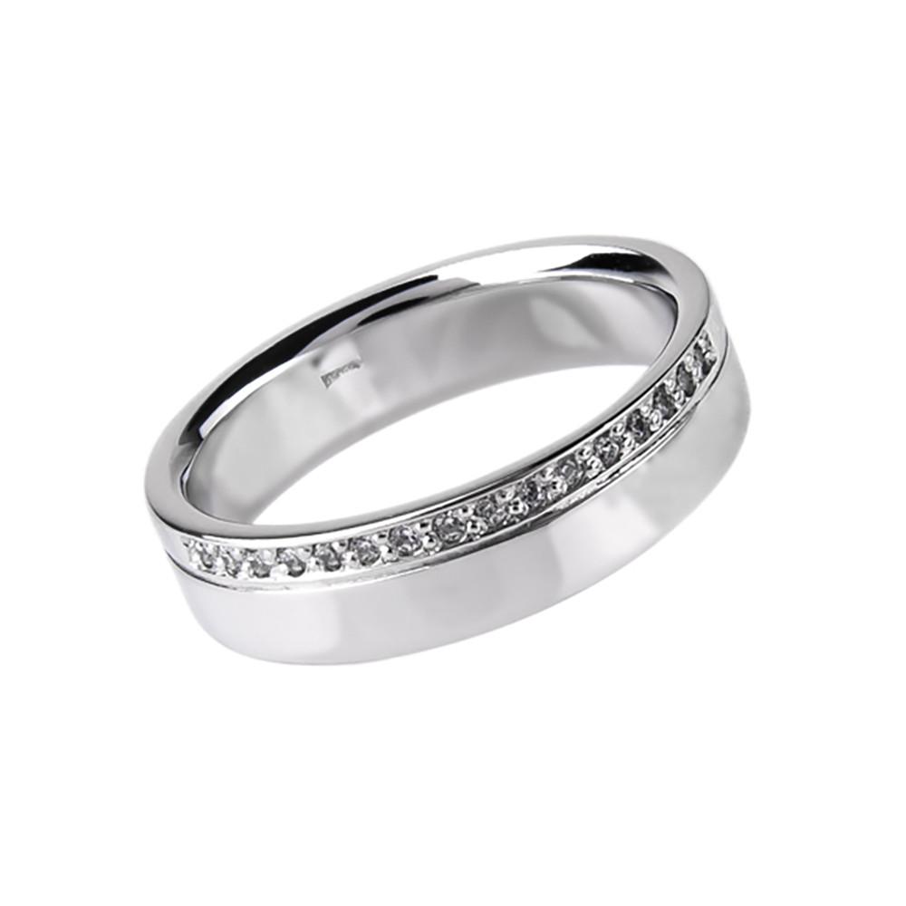 """Женское золотое кольцо с цирконом """"Лунная дорога"""" (размер 16,5)"""
