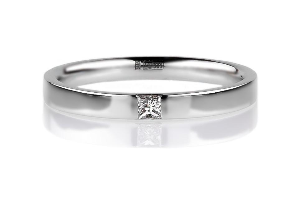 """Кольцо в белом золоте с бриллиантом """"Романтизм"""" (3мм) (размер 16)"""