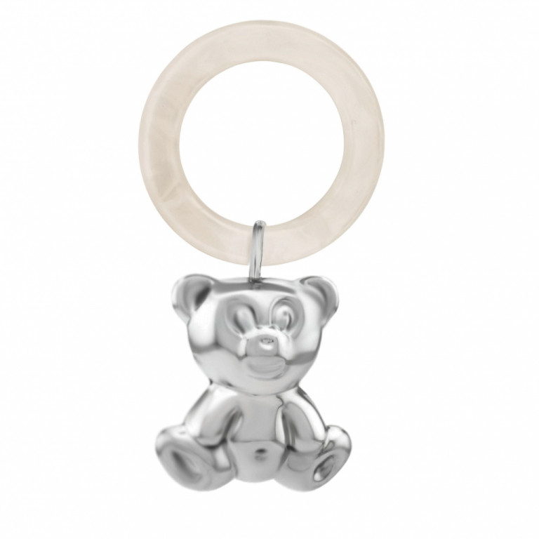 """Серебряная погремушка """"Мишка"""" с силиконовым кольцом"""