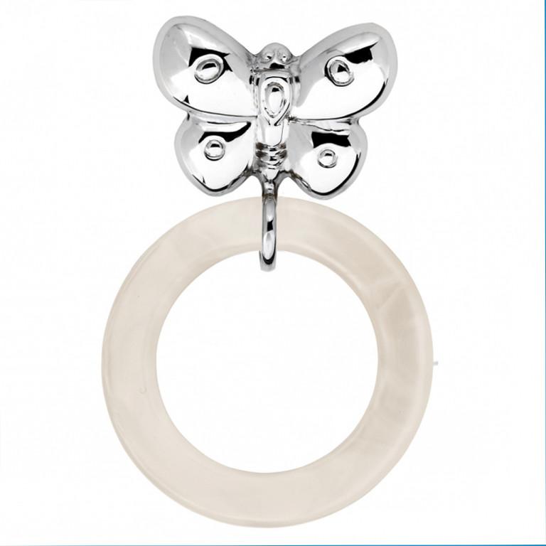 """Серебряная погремушка """"Бабочка"""" с силиконовым кольцом"""