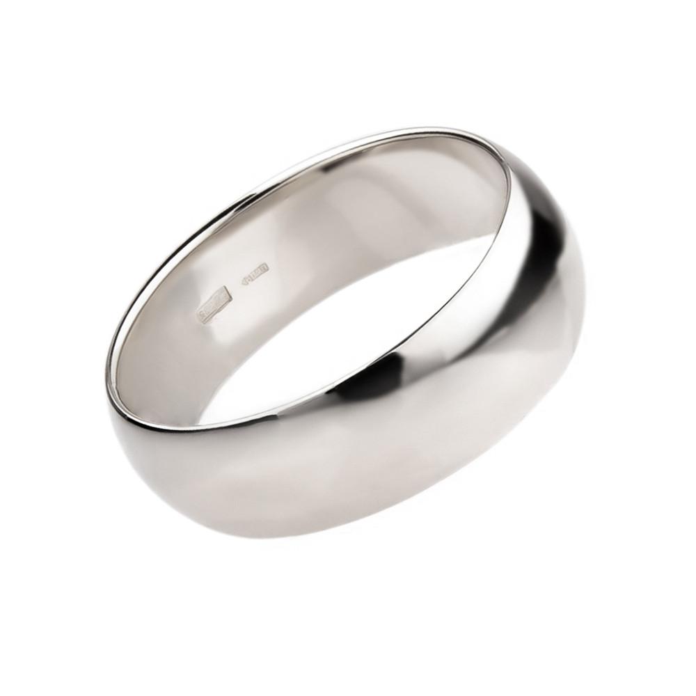 Классическая кольцо из белого золота, ширина 6мм (21,5)