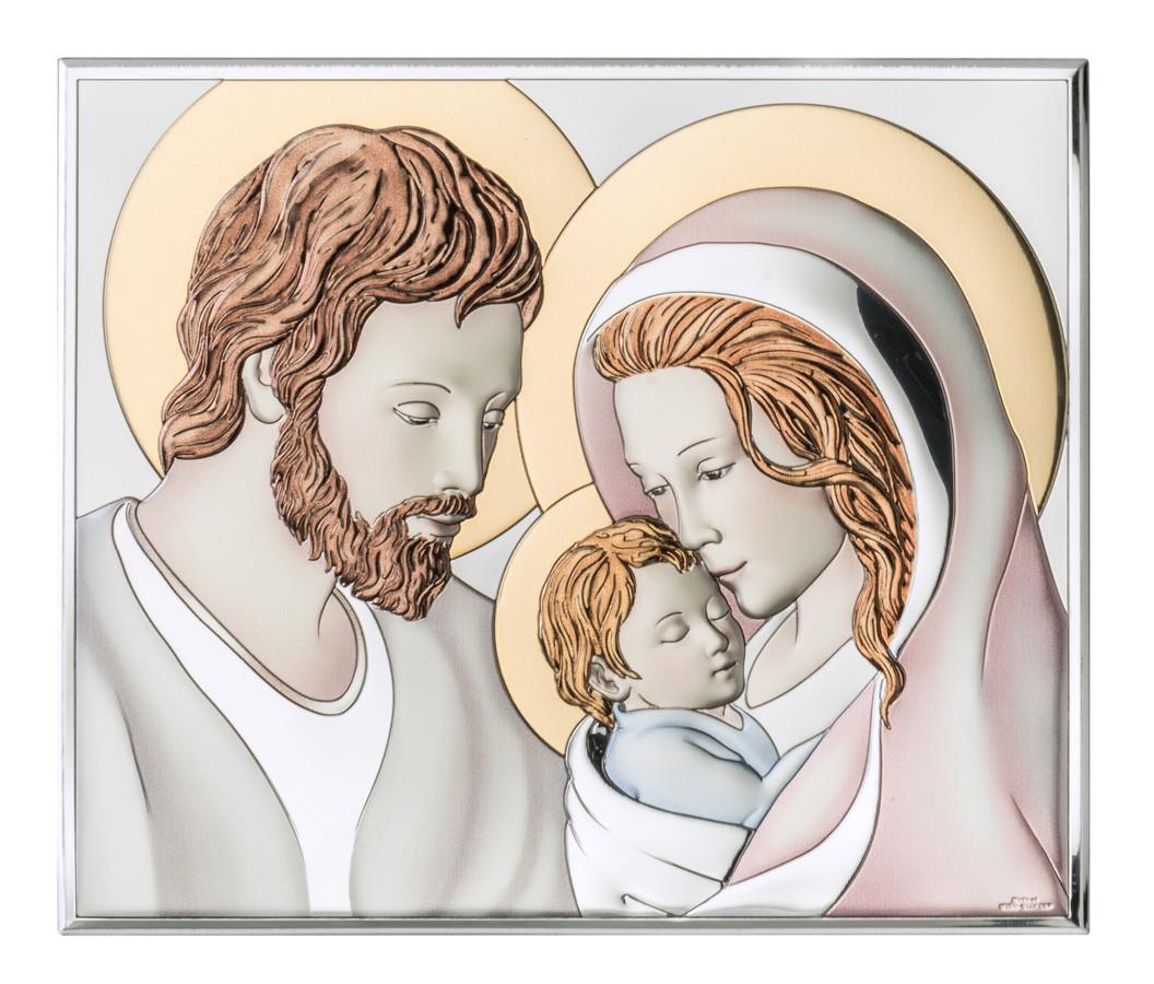 """Икона серебряная с цветным тонированием """"Святая Семья"""" (10.5х8.5см)"""