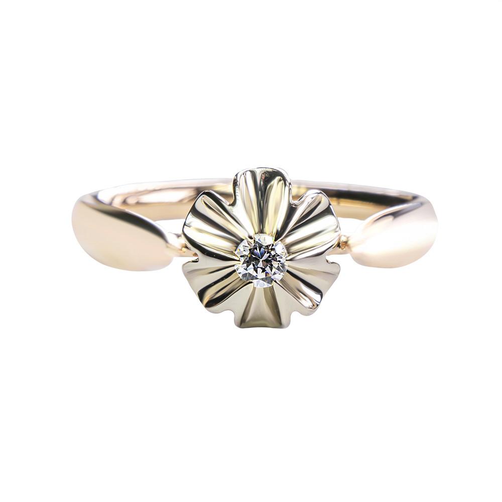 Золотое кольцо с цирконием 363-0097 (18,5)