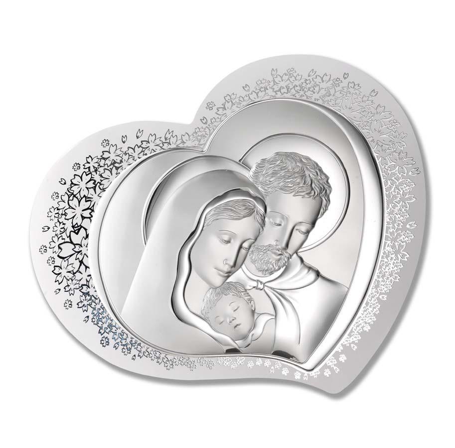 """Серебряная икона в форме сердца """"Святая Семья"""" (56х45см)"""