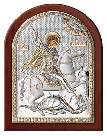 """Икона серебряная с позолотой """"Святой Георгий"""" (16х20см)"""