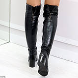 Молодежные повседневные черные замшевые сапоги ботфорты на удобном каблуке, фото 3